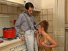 Wify sucking in kitchen