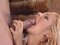 Gorgeous blond girl deep blowing stiff cock in bar