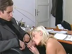 Mature secretary throats hard cock