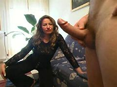 Mom in black stockings is happy to ride meaty dick