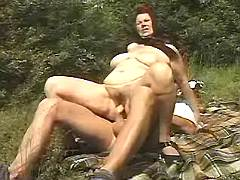 Busty country mom screwed in nature