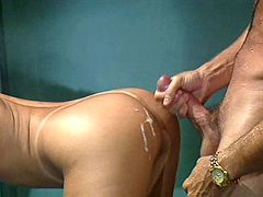 Lovely blonde gets dotted with jizz