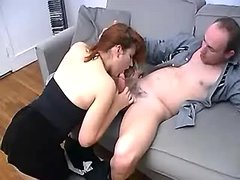 Hot redhead gal in stockings fucking w balding man