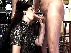 Brunette hungry mature sucks big cock on sex party