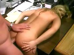 Blonde assfuck on table