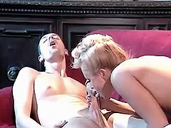 Cockloving blonde fucking on velvety sofa after BJ