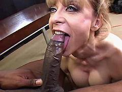 Blonde mature sucks and jumps on big black dick