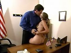 Teen secretary seduces horny boss