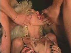 Blonde mature gets double facial after group fuck