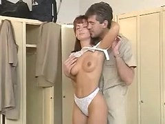 Beautiful redhead girl fucked by dude in checkroom