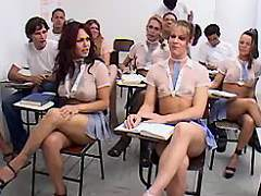 Numerous school shemales have fun w guys in class