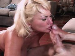 Blonde mature gets facial after fuck in diff poses