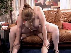 Busty elder mature does blowjob and jumps on cock