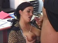 Mature secretary gets cum on boobs