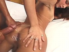Pretty shemale gets jizz after fuck
